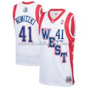 Maillot NBA Pas Cher Dallas Mavericks Dirk Nowitzki 41# White 2004 All Star Hardwood Classics Swingm..